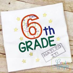 Sixth 6th Grade Nailed It Applique $ REPIN THIS then click here: https://creativeappliques.com/