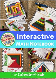 Interactive Math Notebook Activity for Kindergarten to 2nd Grade. This bundle covers it all. 92 activities and over 200 task cards covering subtraction, addition, multiplication and fractions. For Cuisenaire Rods.