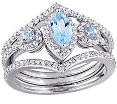 1.40 cttw Blue and White Topaz Ring Set, Sterling