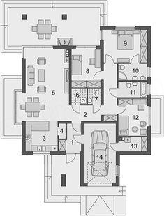 Projekt domu Kroton 116,1 m2 - koszt budowy 238 tys. zł - EXTRADOM Cottage Style Homes, Floor Plans, House, Life, Home Plans, Modern, Haus, Homes, Cottage Style Houses