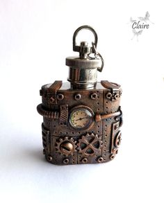 Steampunk Flask 1oz, Stainless Steel Flask, Key Chain Flask, Steampunk Gift for man