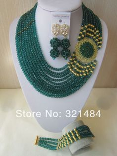 New Fashion Nigerian Wedding African Beads Jewelry Set Teal Peacock Green Crystal Necklace Bracelet Pin Clip Earrings CRB-514 $78.07