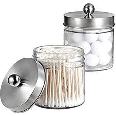Bath Salts Makeup Sponges Balls mDesign Modern Round Bathroom Vanity Countertop Storage Organizer Canister Jar for Cotton Swabs Rounds Clear//Matte Satin