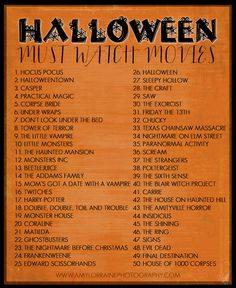 Must watch Halloween movies. I don't know what Monsters Inc or the Harry Potter movies have to do with Halloween, but okay.