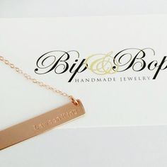 Jessica Necklace | Bip & Bop Handmade Jewelry | $45 | Click link to shop: http://www.bipandbop.com/collections/necklaces/products/gold-bar-name-necklace-the-jessica?variant=5810777345