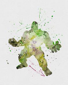 The Hulk 2 Watercolor Art