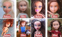 Finally someone who has a use for the stupid Bratz dolls! They look human now! Sonia Singh from Hobart, Tasmania, removes any trace of make-up, reduces the lip and eye size and personally sews the dolls modest new outfits as part of her Tree Change Dolls project.