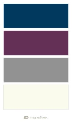 Navy, Eggplant, Classic Gray, and Ivory Wedding Color Palette - custom color palette created at MagnetStreet.com