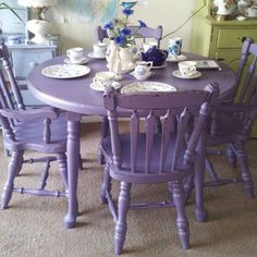 Hand Painted Shabby Chic Furniture | Shabby Chic Mahogany Dining Table U0026  Chairs. Hand