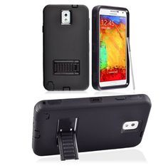SAMSUNG GALAXY NOTE 3 CASE, TOUGH RUGGED HYBRID COVER WITH STAND (BLACK / BLACK) | #cellphonegadgets #mobileaccessories www.kuteckusa.com