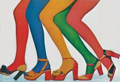 ++ costume inspiration : vivid colored tights and shoes ++ Seventies Fashion, 70s Fashion, Vintage Fashion, Hippie Fashion, Color Fashion, Fashion News, Fashion Shoes, Mode Vintage, Vintage Shoes