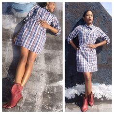 "Plaid Cowgirl dress Heritage 81 plaid long sleeve mini dress. Length: 33"", Bust: 32"", Waist: 30"" Vintage Dresses Mini"