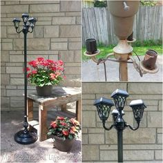 Earlier in the summer before it got really hot, I was very busy making some repurposed floor lamps and solar lights. I made these at the same time that I made the solar light chandelier. It's so easy