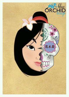 Items similar to Mulan Sugar Skull Digital Print on Etsy Dark Disney, Disney And More, Disney Love, Disney Magic, Disney Art, Disney And Dreamworks, Disney Pixar, Disney Characters, Disney Princesses