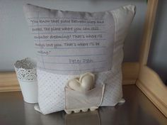 Peter Pan nursery pillow handmade love quote by SweetMeadowDesigns, $36.00