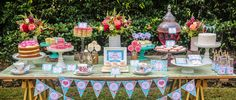 Mothers Day Afternoon Tea Party Dessert Table.  Source has lots of photos of event. (Kara's Party Ideas)