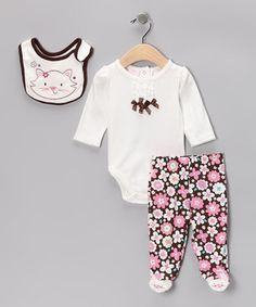 White Floral Kitty Footie Pants Set