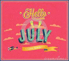 ☼ Seasons ☼ Summer ☼ Hello july typographic design