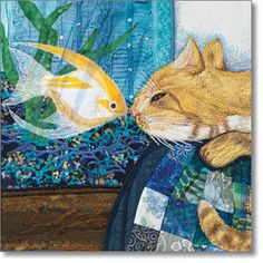 'touching noses' art quilt