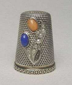 Jeweled Silver Thimble Applied Cabouchons and Pearls Floral Design | eBay /  Mar 09, 2014 / US $129.49