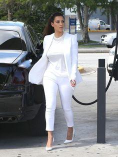 Kim kardashian in white suit