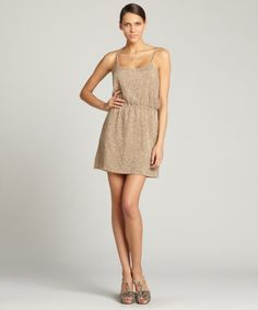 Aryn K taupe sequin spaghetti strap dress | BLUEFLY up to 70% off designer brands