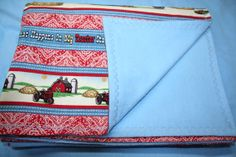 Tractor LARGE Receiving Blanket Little Farmer by CupcakesCottage, $26.50