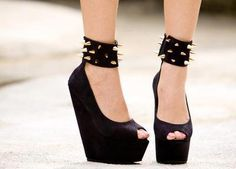 black wedges with spiked ankle cuffs