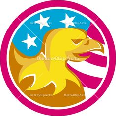 American Bald Eagle USA Flag Circle Retro Vector Stock Illustration. Illustration of an american bald eagle viewed from the side set inside circle with usa american flag stars and stripes in the background done in retro style.  #illustration #AmericanBaldEagle