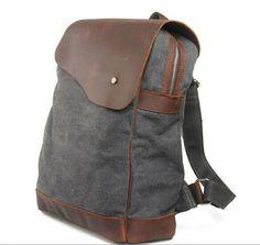 GRay CANVAS bag BACKPACK Superior Genuine Cow Leather Briefcase   Messenger  bag   Laptop bag   Men  leather · sean vintage handmade bags · Online Store  ... 6d9d55011f