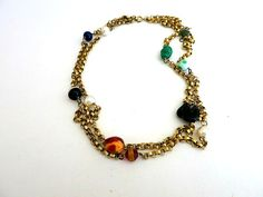 Gold Tone Belcher Link Double Chain Necklace Colored Glass Beads by ediesbest on Etsy
