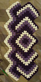 Granny Square Runner Pattern Diagram And - Diy Crafts - Qoster Granny Square Crochet Pattern, Crochet Stitches Patterns, Crochet Squares, Crochet Granny, Easy Crochet, Knitting Patterns, Crochet Quilt, Crochet Afghans, Filet Crochet