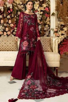 Dazzle everyone around as you walk into a wedding wearing this wine maroon net sharara suit which features beautiful embroidery work. This boat neck and full sleeve party wear suit highlighted with resham work. Matched with santoon sharara pants in wine maroon color with wine maroon net dupatta. Sharara pants has plain work. #shararasuits #malaysia #Indianwear #weddingwear #andaazfashion Pakistani Suits Online, Pakistani Dresses, Indian Dresses, Party Wear, Party Dress, Girl Fashion, Fashion Dresses, Pantalon Cigarette, Sharara Suit