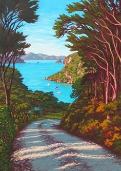 Rachel Olsen Artist - buy Original New Zealand Art Nz Art, Art For Art Sake, Contemporary Artwork, Contemporary Artists, New Zealand Landscape, New Zealand Art, Art Folder, Tropical Art, Beach Art