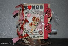 Valentines mini made with vintage Bingo cards & vintage scrappy items