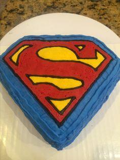 Superman Smash cake! Logo is frozen buttercream transfer.