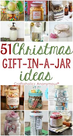 DIY 51 Christmas Gift in a Mason Jar Ideas ~ #diy #christams #gifts #masonjar Check out this ultimate list of Christmas Gift in a Jar ideas! Find ideas for everyone on your list from crafter to golfer to kids. Handmade Christmas gifts