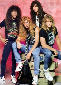 Megadeth!!! 80's 90's Heavy Metal band. Members are Marty Friedman, Dave Mustaine, Nick Menza and David Ellefson.