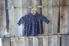 Vintage Navy Blue Corduroy Floral Dress by Specialty by vintapod