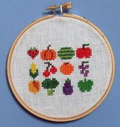 FREE Fruits & Veggies Cross Stitch Pattern from Disorderly Stitches! | Tiny Modernist