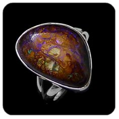Opal Ring:Swirl pattern lines of green and blue forming into purple opal in abstract Yowah Opal formation. In sterling silver. Ref code:5466 - suit ladies or gents fashion jewelry (jewellery)