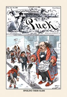 Puck Magazine: Spoiling Their Slide, by F. Opper