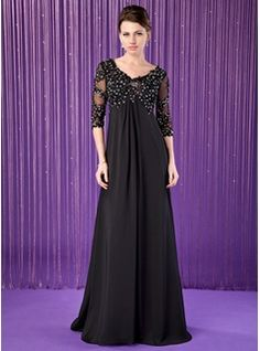 Empire V-neck Sweep Train Chiffon Tulle Mother of the Bride Dress With Lace Beading (008018687) - JJsHouse