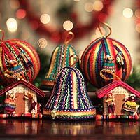 Ornaments, 'Christmas Color' (set of 6)