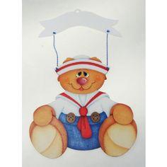 Placa para porta em MDF urso marinheiro pintada a mão |