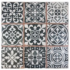 It is easy to picture sun-drenched streets of Spain when looking at the Merola Tile Faenza Azul 13 in. Ceramic Floor and Wall Tile. Save time and labor spent arranging smaller square tiles and Rustic Blue, Blue Tiles, Patterned Kitchen Tiles, White Tiles, Tile Patterns, Floor Patterns, Tile Design, Wall Tiles, Cement Tiles