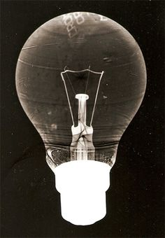 Light Bulb photogram creates an interesting effect. links to experience in memories and everyday objects