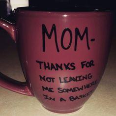 Mother's Day Mug-Mug-Quote Mug-Funny Mug -Valentine's Day Gift-Birthday Gift-12 Ounce Mug-Maroon Mug-Hand Painted-Gift For Mom-Sale