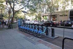Bike share on University Avenue in downtown Palo Alto, California.
