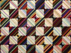 Log Cabin on the Point Quilt -- great skillfully made Amish Quilts from Lancaster (hs3427)